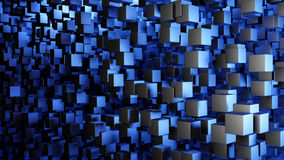Abstract background cubes 3d. Abstract modern background with a swarm of flying cubes in blue light. 3d illustration stock illustration