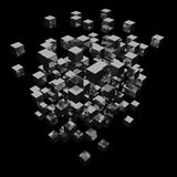 Abstract background cubes explosion. 3d abstract background cubes explosion on black stock illustration