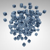 Abstract background cubes explosion. 3d abstract background cubes explosion on white vector illustration