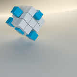 Abstract background with cubes and glowing line. 3D illustration. Template for your design royalty free illustration