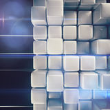 Abstract background of cubes. In gray toned. 3d rendering Stock Photography
