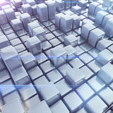 Abstract background of cubes. In gray toned. 3d rendering Stock Images