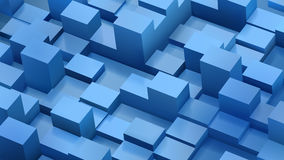 Abstract background of cubes and parallelepipeds in blue colors. With shadows Stock Photo