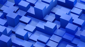 Abstract background of cubes and parallelepipeds in blue colors. With shadows Royalty Free Stock Images