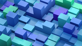 Abstract background of cubes and parallelepipeds in blue and gre. En colors with shadows Royalty Free Stock Photos