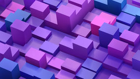 Abstract background of cubes and parallelepipeds in blue. And purple colors with shadows Royalty Free Stock Image