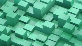 Abstract background of cubes and parallelepipeds in green colors. With shadows stock illustration