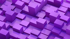 Abstract background of cubes and parallelepipeds in purple color Royalty Free Stock Image