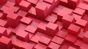 Abstract background of cubes and parallelepipeds in red colors. With shadows Royalty Free Illustration