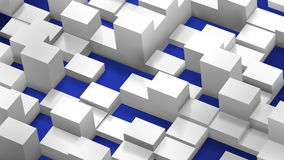 Abstract background of cubes and parallelepipeds, white on blue Stock Images