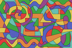 Abstract Background. A Cubist Abstract Background with Swirling Lines and Shapes Royalty Free Stock Photos