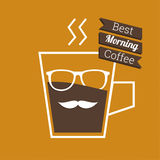 Abstract background with a cup of coffee. With a mustache and glasses and text best morning Coffee. for menu, restaurant, cafe, bar, coffeehouse.  Outline Royalty Free Stock Images