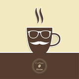 Abstract background with a cup of coffee. With a mustache and glasses and text Coffee house. for menu, restaurant, cafe, bar, coffeehouse.  Outline Royalty Free Stock Photos
