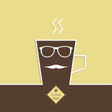 Abstract background with a cup of coffee. With a mustache and sun glasses and text Coffee house. for menu, restaurant, cafe, bar, coffeehouse.  Outline Royalty Free Stock Photo