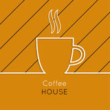Abstract background. With a cup of coffee from a white ribbon and text Coffee house. orange. for menu, restaurant, cafe, bar, coffeehouse Stock Image