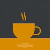 Abstract background with a cup. Of coffee from a white ribbon and text Coffee house. orange. for menu, restaurant, cafe, bar, coffeehouse Royalty Free Stock Photos