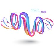 Abstract background with curly colorful ribbons lavitating in the air. Vector illustration royalty free illustration