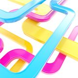 Abstract background of curved glossy lines. Curved glossy tube lines on white background as abstract technological backdrop Stock Photo
