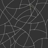 Abstract Background of the Curves and Nodes. Abstract Geometric Background of the Curves, Pattern with White Unfinished Lines and Nodes on Black Background Stock Photo