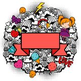 Abstract background with cute kawaii doodles.  Stock Illustration