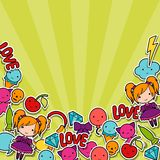 Abstract background with cute kawaii doodles Royalty Free Stock Image
