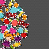 Abstract background with cute kawaii doodles.  Vector Illustration