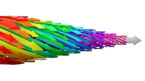 Abstract background of 3d arrows. (colorful arrows white one version Stock Photo