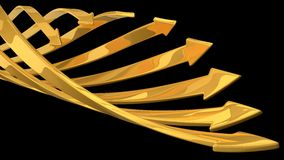 Abstract background of 3d arrows. (spiral moving golden arrows version Stock Photo