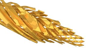 Abstract background of 3d arrows. Twisting golden arrows. (horizontal moving golden arrows version Royalty Free Stock Photos