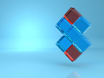 Abstract background of 3d blocks. Over blue Royalty Free Stock Photo