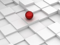 Abstract background of 3d blocks and red sphere Royalty Free Stock Photo