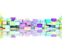 Abstract background of 3D cubes with reflection. Abstract background to create banners, covers, posters, cards, etc royalty free illustration