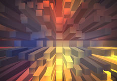 Abstract background with 3d extrude. Blue and orange abstract background with 3d extrude Stock Image