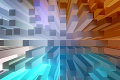 Abstract background with 3d extrude. Blue and orange abstract background with 3d extrude Royalty Free Stock Photography
