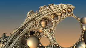 Abstract background 3D. Abstract background, fantastic 3D gold structures, fractal design Royalty Free Illustration