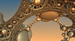 Abstract background 3D. Abstract background, fantastic 3D gold structures, fractal design Stock Illustration
