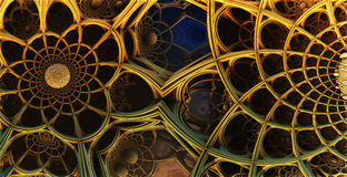 Abstract background 3D. Abstract background, fantastic 3D structures, fractal gold design Vector Illustration