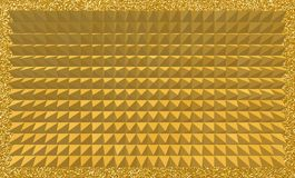 Abstract background of 3D golden pyramids with glittery frame. Creative designs for backgrounds, backdrops, templates, futuristic and fabric use Royalty Free Illustration