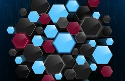 Abstract background with 3d hexagon. Illustration of Abstract background with 3d hexagon Stock Photography