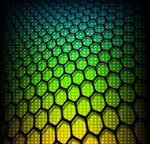 Abstract background. 3D hexagons on rainbow dots, vector illustration stock illustration