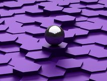 Abstract background of 3d hexagons and steel sphere Royalty Free Stock Photos