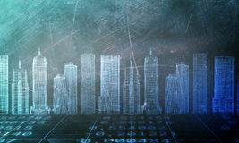 Abstract background with 3d model city Stock Photo
