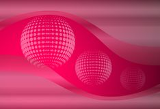 Abstract background 3D. Pink with transparent waves and dots spheres, vector design Royalty Free Stock Photos