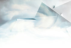 Abstract background with3d  polygonal structure. Abstract background with polygonal structure over cloudy sky. 3d illustration, computer graphic Royalty Free Stock Photo