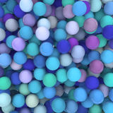 Abstract Background. 3D Render of a background with hundreds of shiny balls in blue / green / purple tones Stock Photos