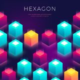Abstract background with 3D shapes. Hexagon colorful backdrop for flyers, cover, presentaion. Abstract background with colored 3D shapes cube. Hexagon colorful vector illustration