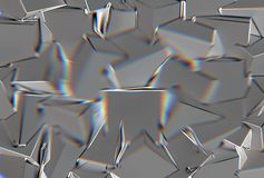 Abstract background with 3d shapes and prism color shift. Or abberation stock illustration