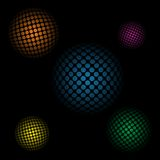 Abstract background with 3d spheres on a black background.  Royalty Free Stock Photography