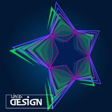 Abstract background with 3D star lines colored dynamic. Vector i. Llustration for design Stock Photography