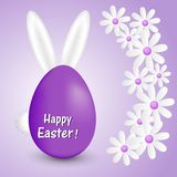 Abstract background with daisies Easter eggs and bunny ears. Abstract purple background with white daisies Easter eggs and ears and tail of a bunny Royalty Free Stock Photos